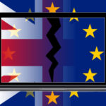 UK flag and EU logo with cracked laptop screen graphic