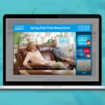 video mock up on laptop on blue background